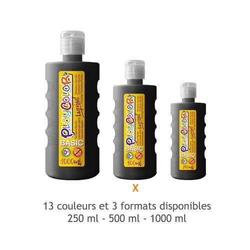 Peinture Gouache Liquide Basic 500ml. - Noir - Playcolor - 19461