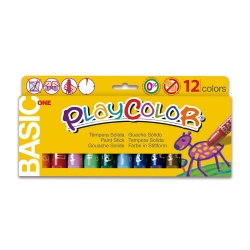 Sticks de Peinture Gouache Solide 10g - Playcolor Basic One - 12 couleurs assorties - 10731