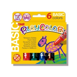 Sticks de Peinture Gouache Solide 10g - Playcolor Basic One - 6 couleurs assorties - 10711