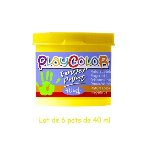 Lot de 6 Pots de Peinture au Doigt - 40 ml. Monocouleur Jaune - Playcolor - Finger Paint Basic - 17511
