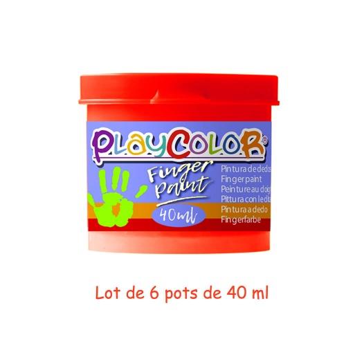 Lot de 6 Pots de Peinture au Doigt - 40 ml. Monocouleur Rouge - Playcolor - Finger Paint Basic - 17521