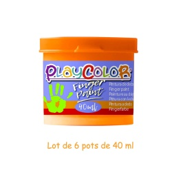 Lot de 6 Pots de Peinture au Doigt - 40 ml. Monocouleur Orange - Playcolor - Finger Paint Basic - 17531