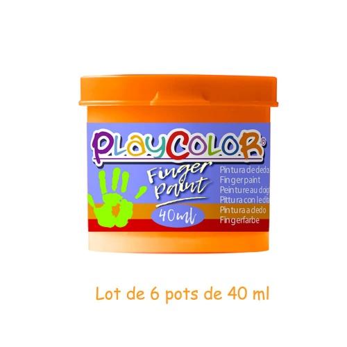 Lot de 6 Pots de Peinture au Doigt - 40 ml. Monocouleur Orange - Playcolor - Finger Paint Basic - 17531