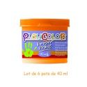 Lot de 6 pots de peinture au doigt - 40 ml. Monocouleur ORANGE - FINGER PAINT BASIC