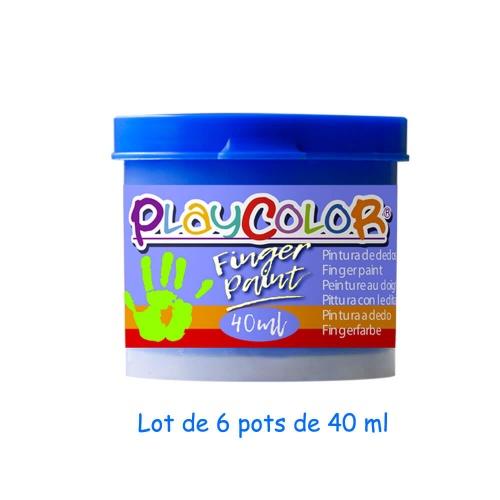 Lot de 6 Pots de Peinture au Doigt - 40 ml. Monocouleur Bleu - Playcolor - Finger Paint Basic - 17541