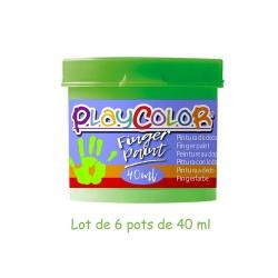 Lot de 6 Pots de Peinture au Doigt - 40 ml. Monocouleur Vert - Playcolor - Finger Paint Basic - 17551