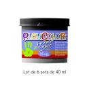 Lot de 6 pots de peinture au doigt - 40 ml. Monocouleur NOIR - FINGER PAINT BASIC