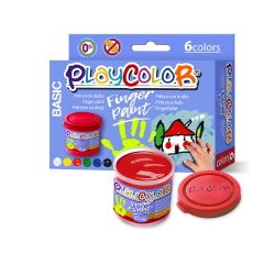 Lot de 6 pots de peinture au doigt - 40 ml. couleurs assorties - FINGER PAINT BASIC