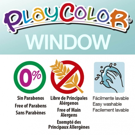 Pack 2-en-1 comprenant 2 POCHOIRS + WINDOW ONE - 6 Sticks de peinture gouache solide spécial vitres miroir - PLAYCOLOR