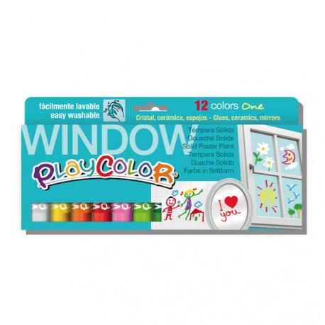 Sticks de Peinture Gouache Solide 10g pour Fenêtre, Céramique ou Miroir - 12 Couleurs Assorties - Window One - Playcolor - 02011