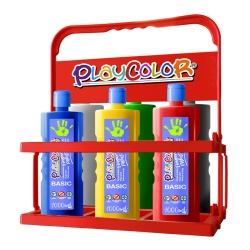 Lot de 6 Peinture au Doigt 1000 ml + Casier de Rangement - Playcolor Finger Paint Basic - Assortiment 6 Couleurs - 17891