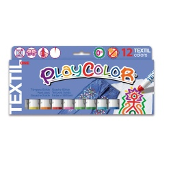 Sticks de peinture gouache solide 10g - TEXTIL ONE - 12 couleurs assorties
