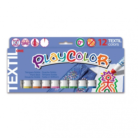 Sticks de Peinture Gouache Solide 10g - Playcolor Textil One - 12 couleurs assorties - 10461