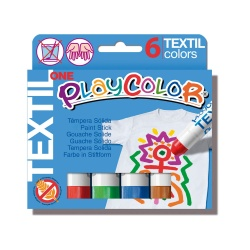 Sticks de Peinture Gouache Solide 10g - Playcolor Textil One - 6 couleurs assorties - 10401