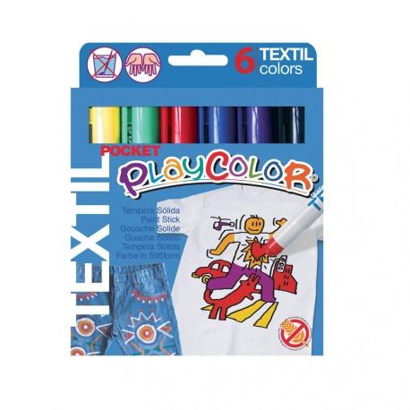Stylos de Peinture Gouache Solide 5g - Playcolor Textil Pocket - 6 couleurs assorties - 10501