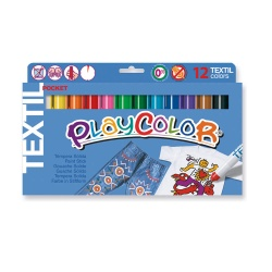 TEXTIL POCKET - Stylo de peinture gouache solide 5 g - 12 couleurs assorties - PLAYCOLOR