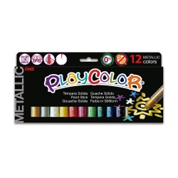METALLIC ONE - Stick de peinture gouache solide 10 g - 12 couleurs assorties - PLAYCOLOR