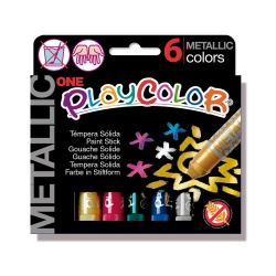 Sticks de Peinture Gouache Solide 10g - Playcolor Metallic One - 6 couleurs assorties - 10321