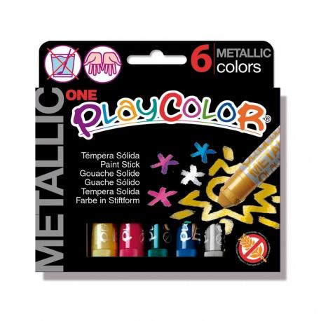 Sticks de Peinture Gouache Solide 10g - Playcolor Metallic One - 6 couleurs assorties - 10321