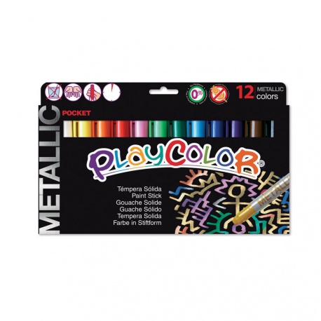 Stylos de Peinture Gouache Solide 5g - Playcolor Metallic Pocket - 12 couleurs assorties - 10131