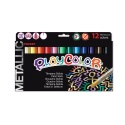 Stylos de peinture gouache solide 5g - METALLIC POCKET - 12 couleurs assorties
