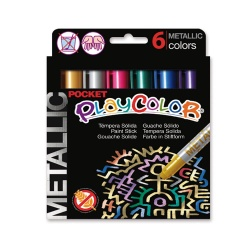Stylos de Peinture Gouache Solide 5g - Playcolor Metallic Pocket - 6 couleurs assorties - 10351