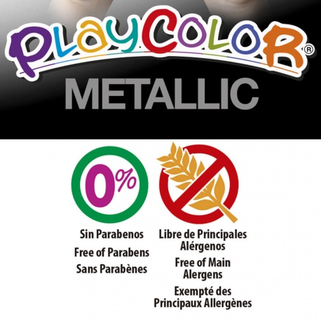 Stylos de Peinture Gouache Solide 5g - Playcolor Metallic Pocket - 1x Or et 1x Argent - 10341