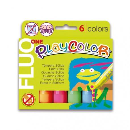 Sticks de Peinture Gouache Solide 10g - Playcolor Fluo One - 6 couleurs assorties - 10431