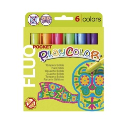 Stylos de Peinture Gouache Solide 5g - Playcolor Fluo Pocket - 6 couleurs assorties - 10421