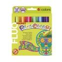 Stylos de peinture gouache solide 5g - FLUO POCKET - 6 couleurs assorties
