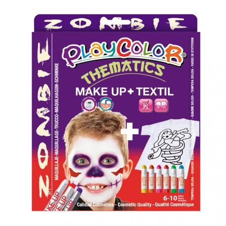Pack 3-en-1 - Maquillage + T-Shirt à Peindre + Stick de Peinture pour Textile - Thème Zombie - Playcolor - 58041