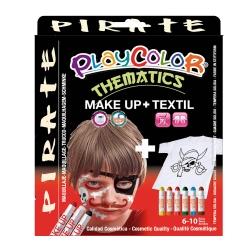 Pack 3-en-1 - Maquillage + T-Shirt à Peindre + Stick de Peinture pour Textile - Thème Pirate - Playcolor - 58042