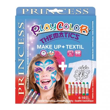 Pack 3-en-1 - Maquillage + T-Shirt à Peindre + Stick de Peinture pour Textile - Thème Princesse - Playcolor - 58044