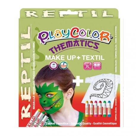 Pack 3-en-1 - Maquillage + T-Shirt à peindre + Stick de peinture pour textile - Thème REPTIL - PLAYCOLOR