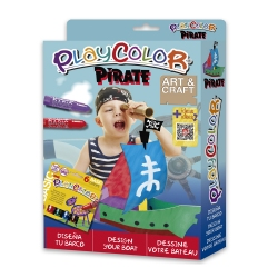 Pack Pirate 2-en-1 PLAYCOLOR - 6 sticks de gouache solide 10g + bateau à peindre