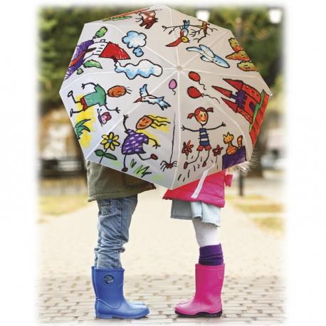 Pack 2-en-1 avec 1 Parapluie Diam 96 cm + Playcolor Textil One - 6 Sticks de peinture gouache solide 10 g - 11331