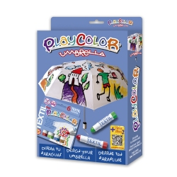 Pack 2-en-1 avec 1 Parapluie Diam 96 cm + Playcolor Textil One - 6 Sticks de peinture gouache solide 10 g - 11331