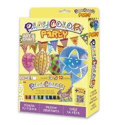 Pack Anniversaire 2-en-1 - 12 sticks de gouache solide 10g PLAYCOLOR + bannières à peindre et 12 ballons