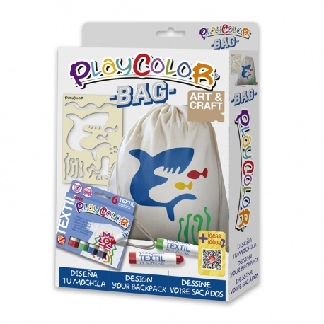 Pack Bag 2-en-1 - 6 sticks de peinture pour textile PLAYCOLOR + sac à dos + pochoir
