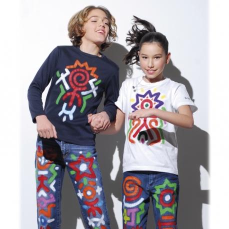 Pack T-Shirt 2-en-1 - 6 sticks de peinture pour textile PLAYCOLOR + t-shirt pochoir
