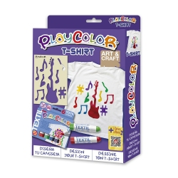 Pack T-Shirt 2-en-1 - 6 sticks de peinture pour textile PLAYCOLOR + t-shirt pochoir