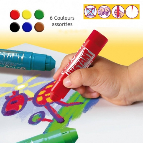 Sticks de Peinture Gouache Solide 40g - Diam 28mm - Playcolor Mural Basic - 6 couleurs assorties - 58721