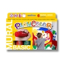 Sticks de peinture gouache solide 40g - Diam XXL 28 mm - MURAL BASIC ONE - 6 couleurs assorties - PLAYCOLOR