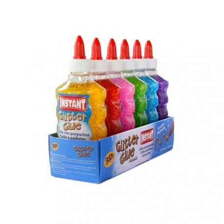 Lot de 6 Colles Liquide avec Paillettes 180ml - Instant - Glitter Glue - Assortiment 6 Couleurs - 11271