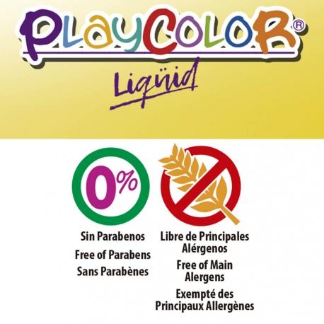 Lot de 6 Peinture Gouache Liquide Playcolor Basic 500ml + Casier de Rangement - 19471
