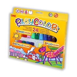 Sticks de peinture gouache solide 10g - PLAYCOLOR ONE (BASIC+METAL+FLUO) - 24 couleurs assorties