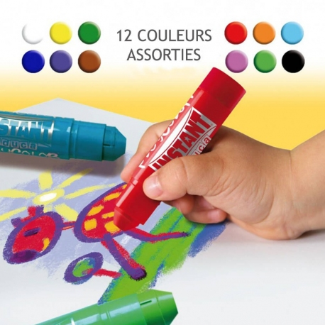 Sticks de Peinture Gouache Solide 10g - Pack One (Basic+Metal+Fluo) - 24 couleurs assorties - Playcolor - 02041