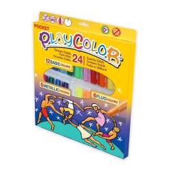 Stylos de peinture gouache solide 5g - PLAYCOLOR POCKET (BASIC+METAL+FLUO) - 24 couleurs assorties