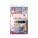 Pack 2-en-1 comprenant 2 POCHOIRS Girly + TEXTIL POCKET - 6 Stylos de peinture gouache solide spécial textile