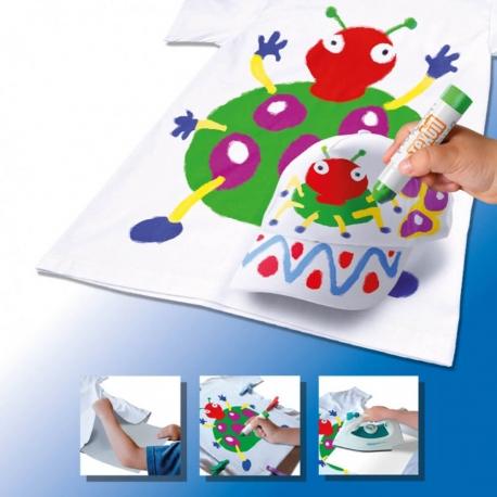 Pack 2-en-1 comprenant 2 POCHOIRS filles + TEXTIL POCKET - 6 Stylos de peinture gouache solide spécial textile